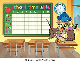 School timetable classroom theme illustration.