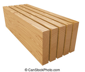 Wooden planks 3d illustration isolated on a white background...