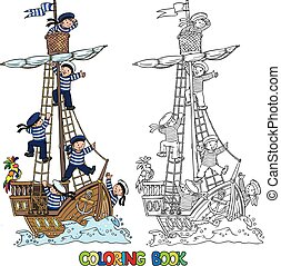 Coloring Book with ship and happy sailors - Coloring book of...