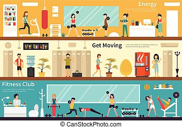 Energy Get Moving Fitness Club flat interior outdoor concept...