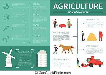 Agriculture infographic flat vector illustration....