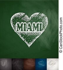 MIAMI in heart icon Hand drawn vector illustration...
