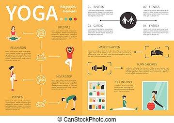 Yoga infographic flat vector illustration. Presentation...