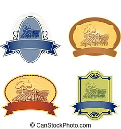 Labels - Four vector label illustrations with a farm scene.
