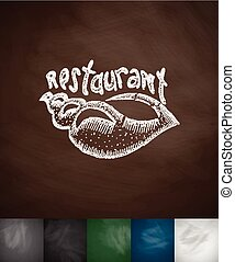 restaurant icon Hand drawn vector illustration Chalkboard...