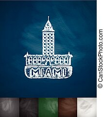 house Miami icon Hand drawn vector illustration Chalkboard...