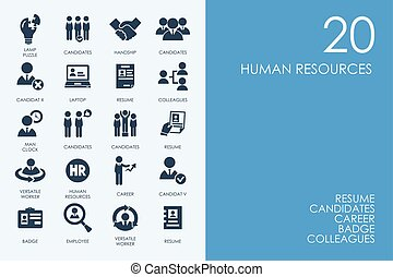 Set of BLUE HAMSTER Library human resources icons