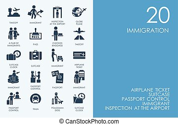 Set of BLUE HAMSTER Library immigration icons - BLUE HAMSTER...