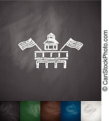 Parliament Building Miami icon Hand drawn vector...