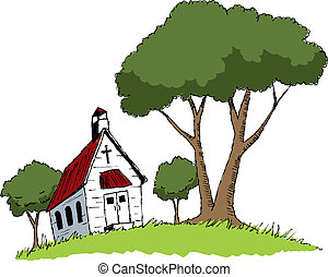 Country Church - Pen and ink style illustration of an old...