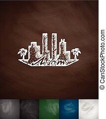 silhouette Miami icon Hand drawn vector illustration...