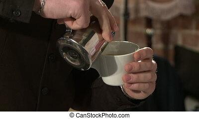 Coffee machine in a cafe. - Making espresso in a cafe.