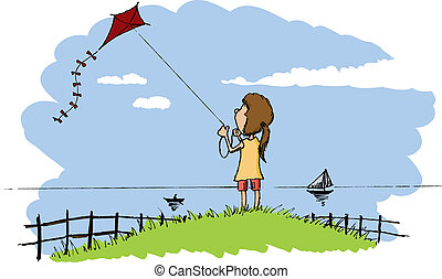 Flying a kite - Pen and ink style illustration of a girl...