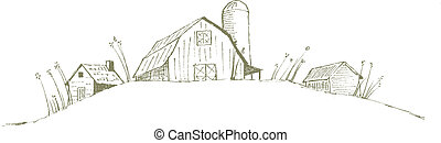 Old Barn - Pen and ink style illustration of an old barnfarm...