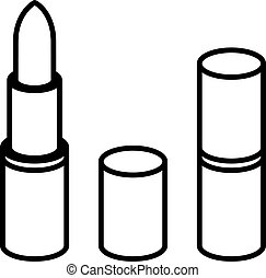 3d lipstick black line symbol - illustration for the web