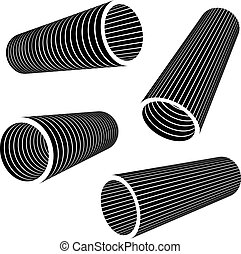 3d industrial pipes black symbol - illustration for the web