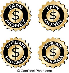 golden earn money affiliate program label - illustration for...