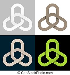 triple linked chain cooperation symbol - illustration for...