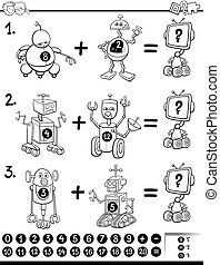 maths educational coloring book - Black and White Cartoon...