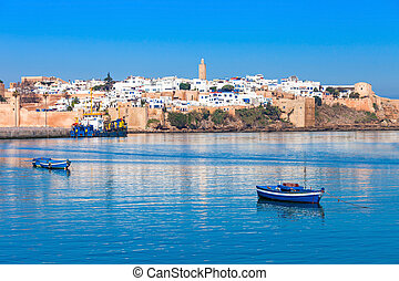 Medina in Rabat - River Bou Regreg seafront and Kasbah in...