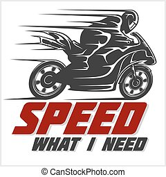 Sport Motorcycle. Vector graphic for t shirt on white.