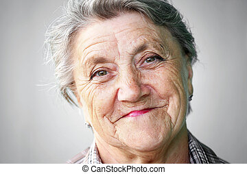 Smile granny face on a gray