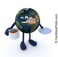 planet earth with arms and legs and cup of coffee - planet...