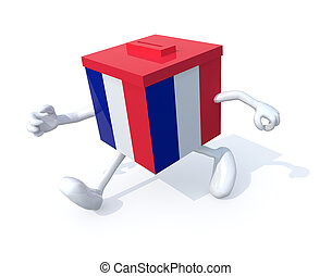 French election ballot box whit arms, legs runnning away, 3d...