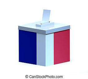 French election ballot box isolated on white background, 3d...