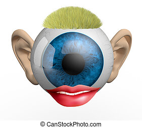 eyeball with ears, lips and hair, 3d illustration