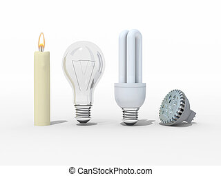 Candle, old light bulb, fluorescent and led - Candle,...