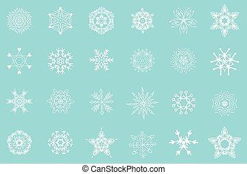 white snowflakes isolated - Set of 24 white snowflakes on...