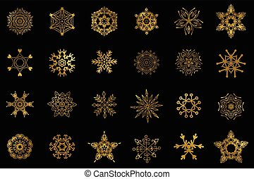 Golden snowflakes isolated - Set of 24 Golden snowflakes...