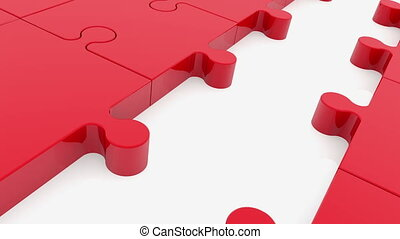 Puzzle pieces in red with one missing between