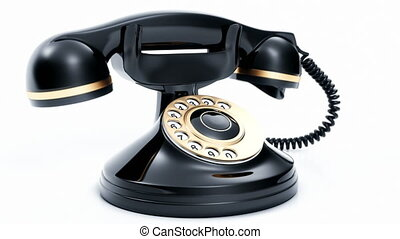 Retro black phone ringing. 3D rende