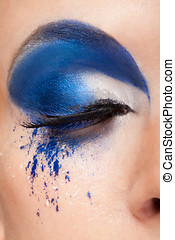 Closed eye with blue fantasy make up