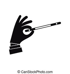 Magician hand with a magic wand icon, simple style - icon in...