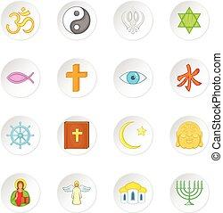スタイル, アイコン, セット, シンボル, 宗教, 漫画