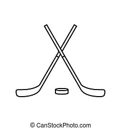 Crossed hockey sticks and puck icon, outline style - icon in...