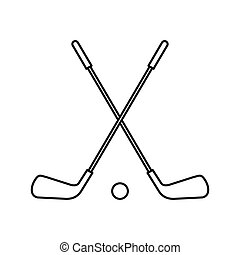 Two crossed golf clubs and ball icon outline style - icon in...