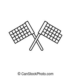Crossed flags icon, outline style - icon in outline style on...