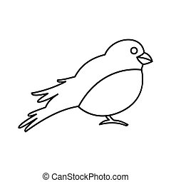 Bullfinch icon in outline style - icon in outline style on a...
