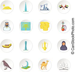 UAE icons set, cartoon style - UAE icons set in cartoon...