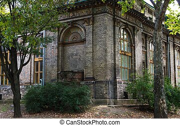 Abandoned brick building in the park