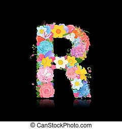 Fancy letter of beautiful flowers on black background R