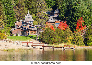 Bariloche landscape in Argentina - Beauty houses on Nahuel...