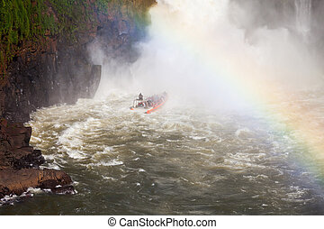 The Iguazu Falls - Boat near the Iguazu Falls (Cataratas del...