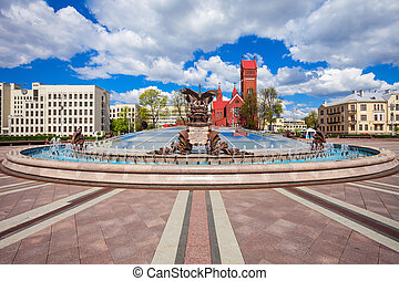 Independence Square in Minsk - Fountain and Church of Saints...