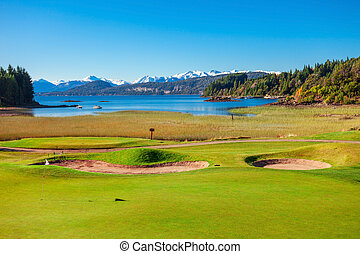 Bariloche landscape in Argentina - Golf field in Nahuel...
