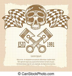 Sketch of vintage biker rider skull with racing flags on...